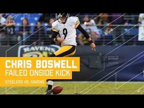 Kick Fail! Steelers K Chris Boswell Attempts Worst Rabona Onside Kick | Steelers vs. Ravens | NFL