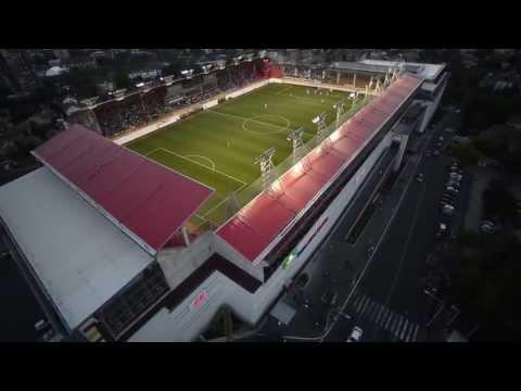 Stadion FK Voždovac iz vazduha tokom utakmice