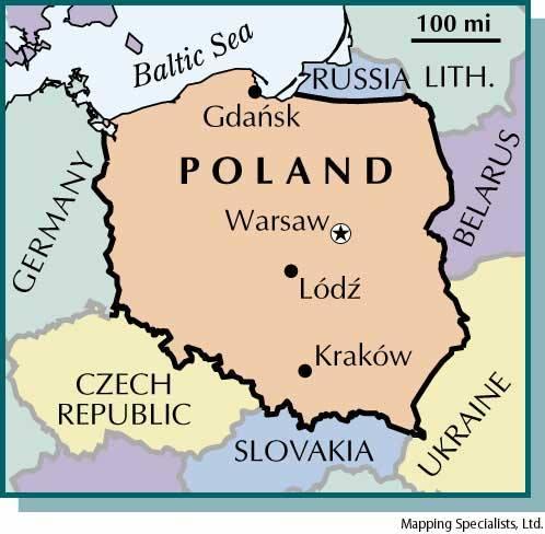 Omrissekart av Polen