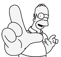 Simpsons loser sign