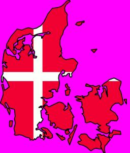 Flag map of Denmark