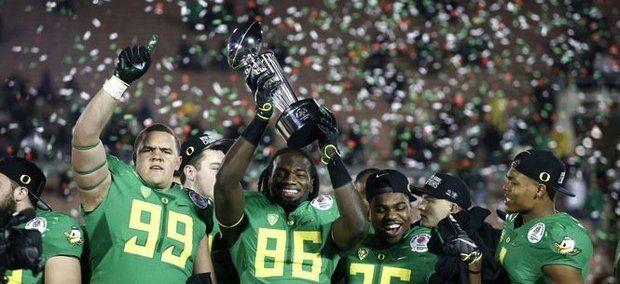 Oregon celebration Rose Bowl