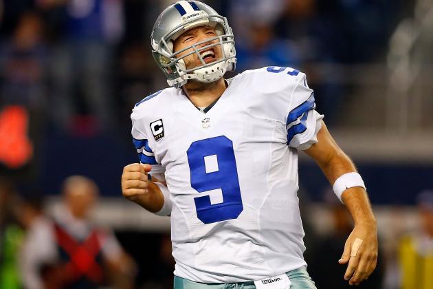 Tony Romo og resten av Dallas Cowboys kunne juble for seieren i går.