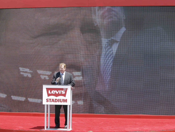 NFL Commissioner Roger Goodell speaks on the opening day of Levi's Stadium Thursday, July 17, 2014, in Santa Clara, Calif. The San Francisco 49ers held a ribbon-cutting ceremony to officially open their new home. The $1.2 billion Levi's Stadium, which took only about 27 months to build, also will host the NFL Super Bowl in 2016 and other major events. (AP Photo/Eric Risberg)