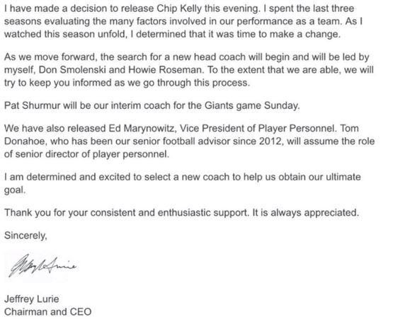 Chip Kelly statement fra Eagles
