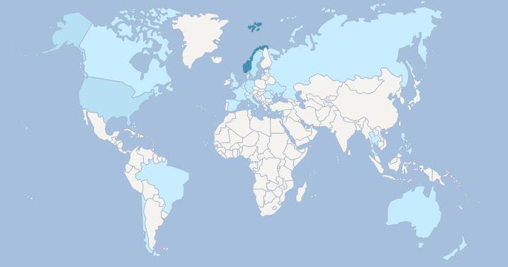 1 januar 2016 - besøkende fra 21 land så langt i dag