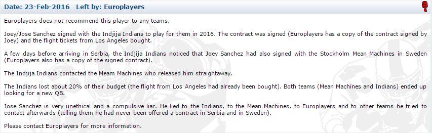 Europlayers info Jose Joey Sanchez-profilen