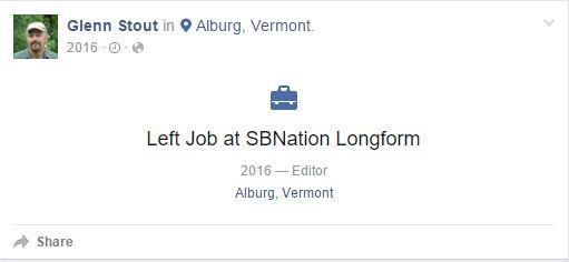 Glenn Stout left job at SB Nation Longform