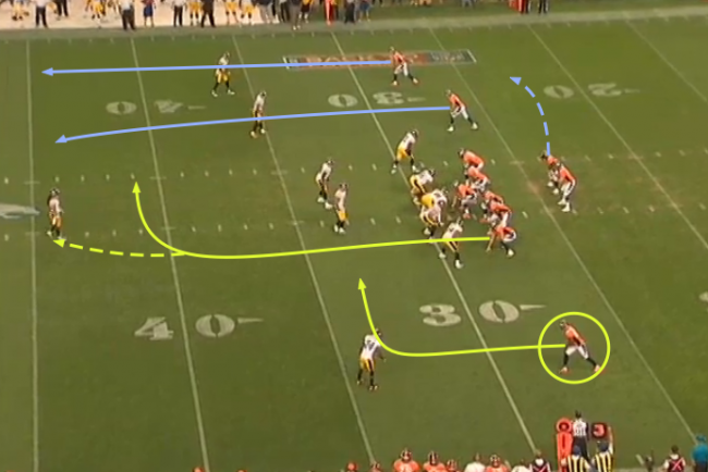 Mannings layer rute #1. Tight end angriper dyp middel mens receivern angriper kort middel. Avhengig av hva linebackeren gjør (dropper dypt eller blir stående) velger Manning hvilke mottaker som får ballen.