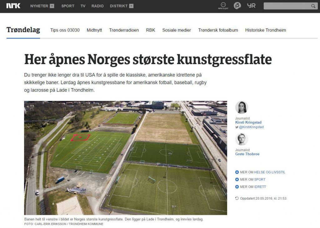 Faksimile NRK åpning av Lade kunstgress 20160521
