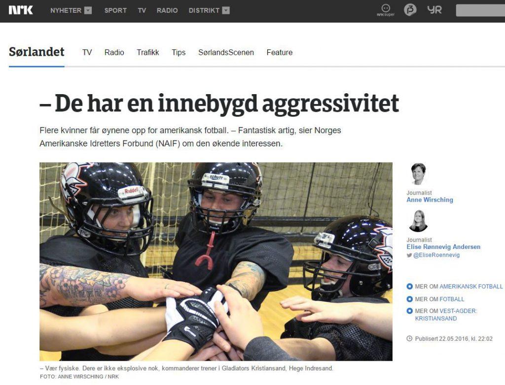 Faksimile NRK Sørlandet kvinnefotball Glads
